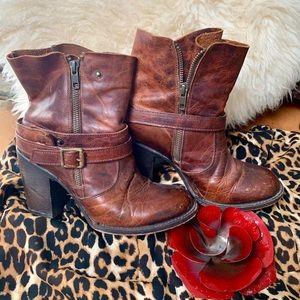 "Freebird Brown Leather Boots 3"" Heel"